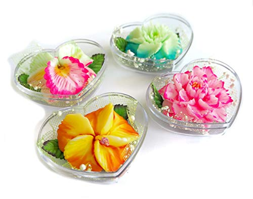 Set of 4 Exotic Hand Carved Flower Shaped Soaps