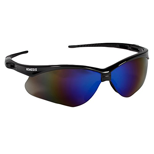 Jackson Safety V30 Nemesis Safety Glasses (14481), Blue Mirror Lenses with Black Frame, Pack of 12 - Where People Sunglasses