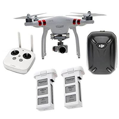 DJI Phantom 3 Standard Quadcopter Aircraft with 3-Axis Gimbal and 2.7k Camera - Bundle with Spare Battery for Phantom 3 4480mAh Capacity, DJI Hardshell Backpack