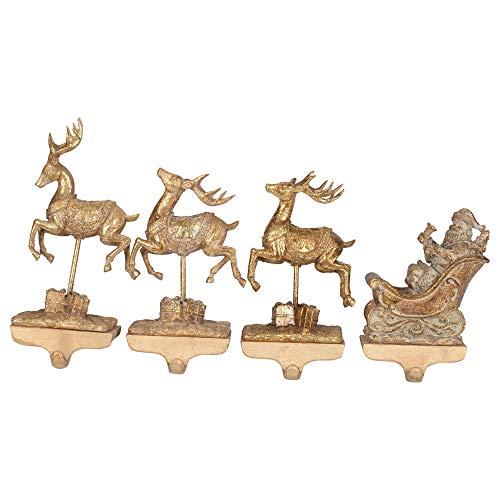 - Creative Co-op Reindeer Santa Gold Toned 10 inch Resin Christmas Stocking Holders Set of 4
