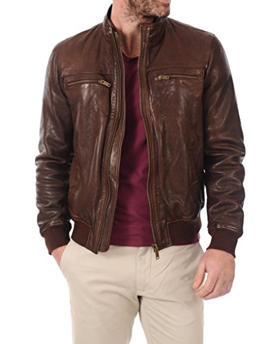 LEATHER FARM Men's Lambskin Leather Bomber Motercycle Jacket XX-Large Brown by LEATHER FARM (Image #3)