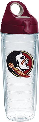 Tervis 1230634 Florida State Seminoles Logo Insulated Tumbler with Emblem and Maroon Lid, 24oz Water Bottle, Clear ()
