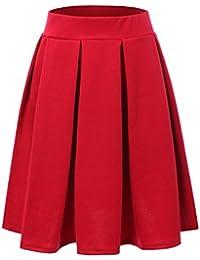 Elastic Waist Flare Pleated Skater Midi Skirt for Women with Plus Size