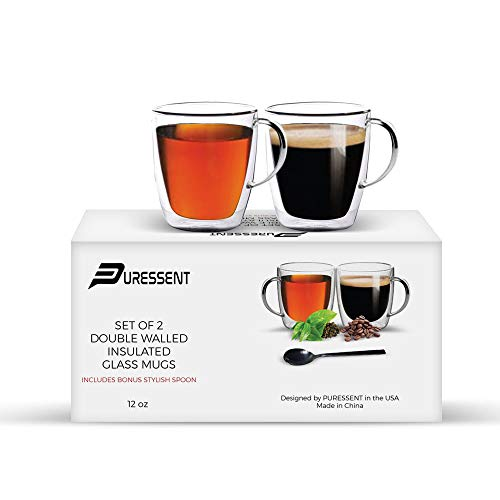 Double Walled Thermal Insulated Glass Coffee Mugs, Set of 2, (12 oz, 350ml) With Free Stainless-Steel Spoon. For Tea, Latte, Espresso, Juice