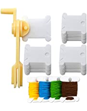240 Pcs Plastic Floss Bobbins and 1 Pcs Floss Winder for Embroidery Organization,Cross-Stitch Thread Holder