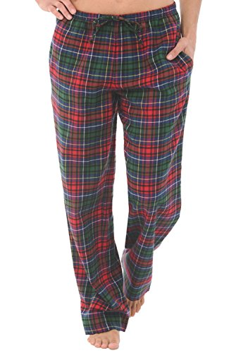 Alexander Del Rossa Womens Flannel Pajama Pants, Long Cotton Pj Bottoms, Large Red Green Blue Even Plaid (A0702V69LG)