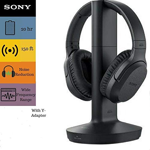Sony RF995RK Headphone & Cable Bundle – Wireless RF Headphones Feature 150-Foot Range, Noise Reduction, Volume Control, Voice Mode, 20-Hr Battery Life – 6-ft 3.5mm Stereo/2 RCA Plug Y-Adapter for TV,