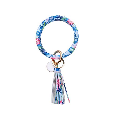 Big O Bangle Keychain Keyring - Large Wrist Leather Tassel Bracelet Key Holder Key Chain Key Ring By Coolcos (Blue Floral) ()