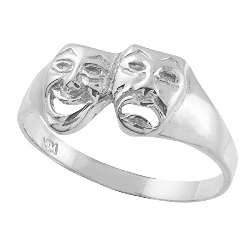 Women's 925 Sterling Silver High Polish Band Theater Acting Masks of Comedy and Tragedy Drama Ring (Size -