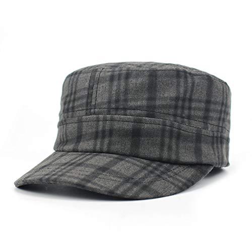Women Army Cap Military Plaid Flat Top Student Newsboy Hat Fedora uede Army Hat Vintage Cadet Bone,A
