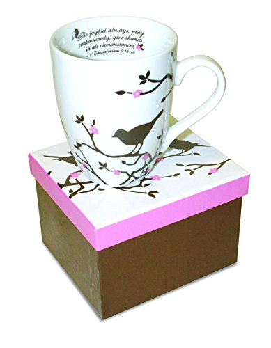 Divinity Boutique Inspirational Ceramic Mug, Brown Birds on White Mug, 1 Theses. 5:16-17, The Joyful Always Pray, Multicolor from Divinity Boutique