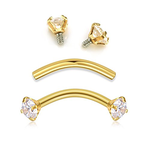 vcmart Tragus Rook Snug Earrings-Internally Threaded Eyeborw Medusa Vertical Labret Navel Ring Surgical Steel Body Piercing Studs Jewelry Sliver (Gold Ball Belly Ring)