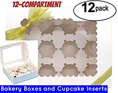 Window Bakery Cupcake Box With Insert, Bakery Boxes for Cupcakes with Display Window 12 Pack Cupcake Boxes (12, 14