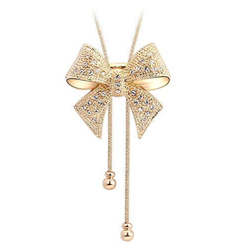 Acefeel Big Bow Tie Ribbon Made with Swarovski Element Crystal Pendant Necklace Fashion Jewelry N152