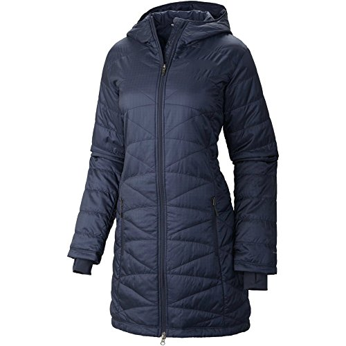 COLUMBIA WOMEN'S MORNING LIGHT OMNI HEAT LONG JACKET PUFFER NAVY (S)