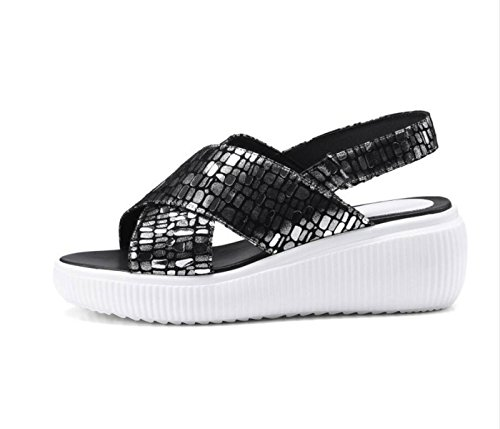 DANDANJIE Sandalias para Mujer Summer Casual Wedge Heel Cross Strap Sandalias Zapatos de Moda al Aire Libre Zapatos caseros Plata