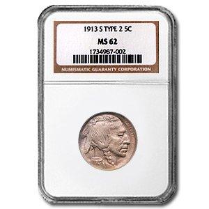 Ms62 Nickels (1913 S Buffalo Nickel Type-II MS-62 NGC Nickel MS-62 NGC)