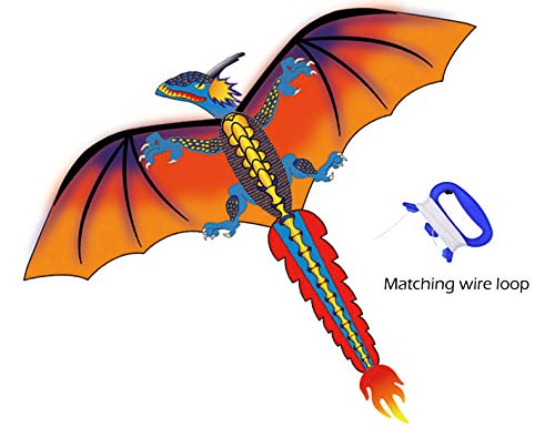 (Livoty Kite - Upgrade Classical Dragon Kite - Easy to Fly - 55inch x 62inch Single Line with Tail, USA Stock)