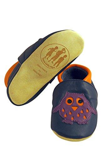 Three Little Imps Handgemachte weiche Kleinkind-Schuhe aus Leder - Kluge lila Eule auf marineblauem Hintergrund 6 - 12m (OLPN) blau