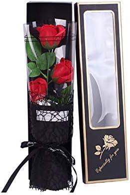Pétalos De Jabón Flores, 3 Piezas Rosa Rojo Perfumado Baño En Caja De Regalo, Perfumado Rosa