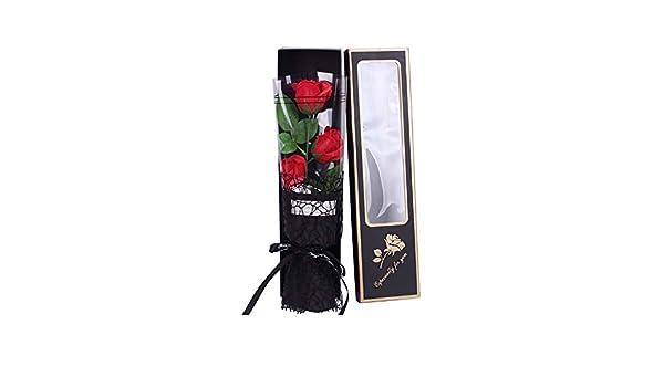 Pétalos De Jabón Flores, 3 Piezas Rosa Rojo Perfumado Baño En Caja De Regalo, Perfumado Rosa Flor, Pétalos del Jabón para El Día De La Boda del Cumpleaños De La Decoración De