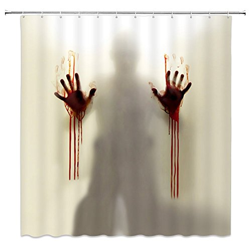 Feierman Halloween Shower Curtain Decor Horror Ghost Bathroom Curtain Decor Machine Washable Waterproof Fabric Bathroom Decor Set with Hooks 70x70Inches