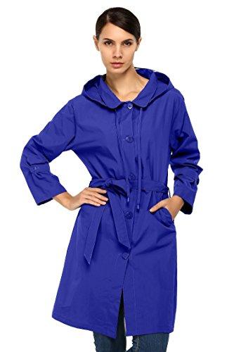 Elever Women's Lightweight Hooded Waterproof Active Outdoor Jacket Dark Blue L