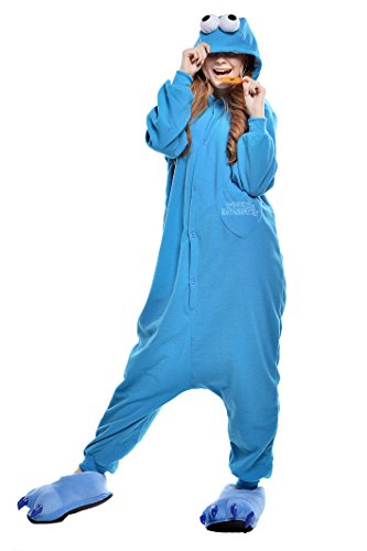 NEWCOSPLAY Adult Anime Unisex Pyjamas Halloween Onesie Costume (M, Blue Sesame)