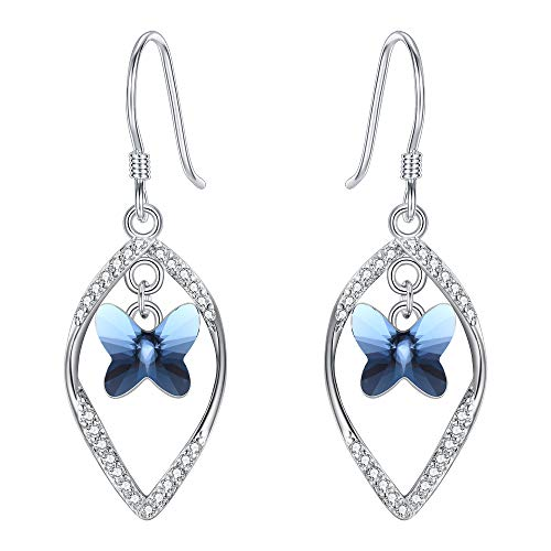 EleQueen 925 Sterling Silver CZ Butterfly Vase French Hook Dangle Earrings Denim Blue Made with Swarovski Crystals