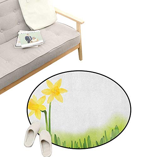 Daffodil Round Rug Living Room ,Daffodil Flower in Grass Field Meadows Freshening Uniform Colored Illustration, Bedrooms Laundry Room Decor 23