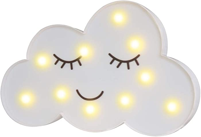 Pooqla LED Painted Cloud Night Light, Emoji Face Marquee Cloud Signs, Battery Operated Warm Lighting Home Decor for Kids, Baby, Nursery, Living Room Dorm (Shy Cloud)
