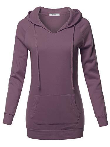 Dusty Violet - Casual Raglan Long Sleeve Kangaroo Pocket Long-Line Hoodie Dusty Violet Size L