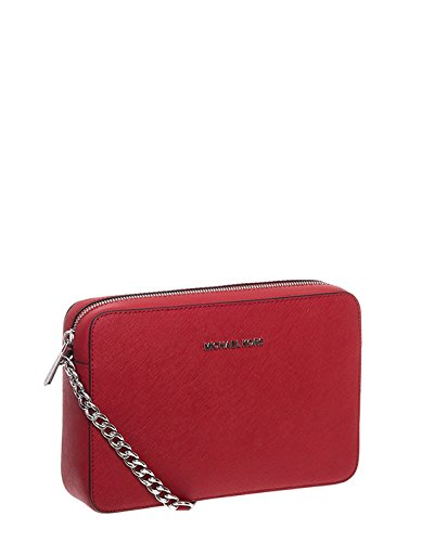 MICHAEL Michael Kors Women's Large East/West Cross Body Bag, Bright Red, One Size (Red And Black Cross Purse)