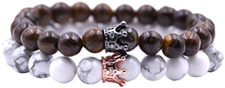 ブレスレット 天然石 王冠 バングル カップル ブレスレット ペアブレスレット ジュエリー 細身デザイン