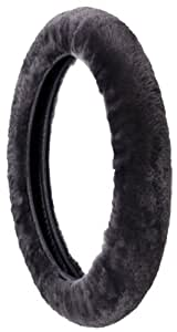 Sheepskin Stretch-On Steering Wheel Cover-Black