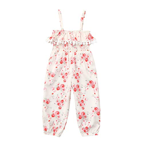 Summer Romper Baby Girls Sleeveless Ruffles Print Floral Fringe Frilled Jumpsuit(6Months-4Years) SIN vimklo White (Hand Knit Doll Booties)