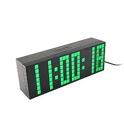 Yosoo Large Big 4 6 Digit Jumbo LED Digital Alarm Calendar Snooze Wall Desk Clock (green, 6-digit version)