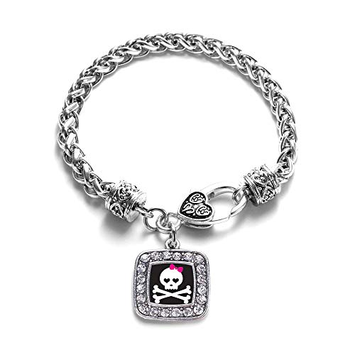 Inspired Silver - Cute Skull and Crossbones Braided Bracelet for Women - Silver Square Charm Bracelet with Cubic Zirconia Jewelry