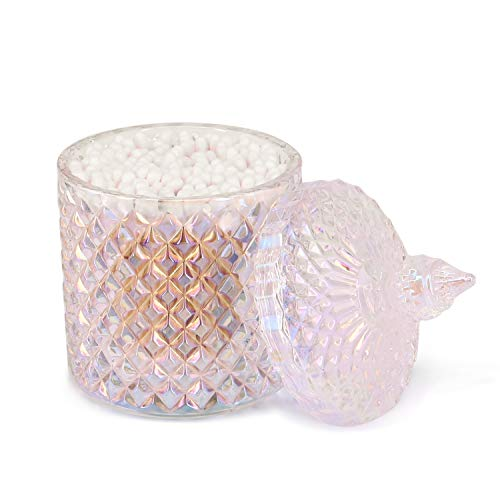 Porlik Embossed Clear Makeup Accessories Jar with Lid - Glass Buffet Jars for Cotton Swab,Toothpick,Cosmetic Pad,Candy,Jewelry (Color B)