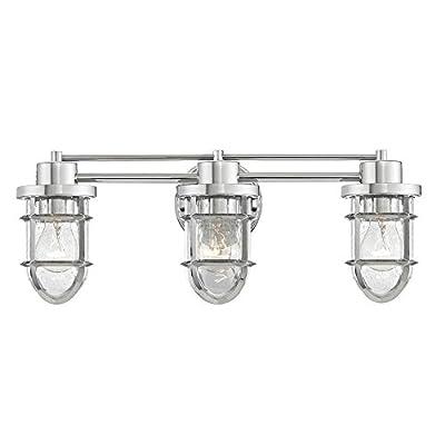 Seeded Glass Bathroom Light Chrome Cage 3 Lt