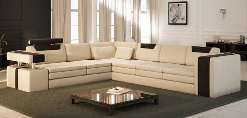 (Vista Modern Italian Design Leather Sectional Sofa )