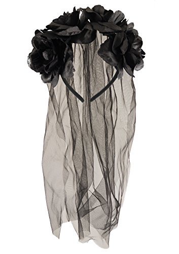 [Adult Halloween Zombie Bride Black Veil With Flowers Fancy Dress Accessory] (Zombie Bride Costume Accessories)
