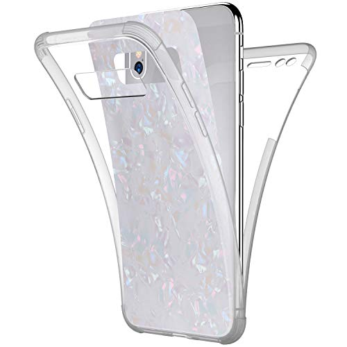 Price comparison product image Case for Galaxy Note 8, [Full-Body 360 Coverage Protective] Crystal Clear 2in1 Bling Glitter Shell Pattern Front Back Full Coverage Soft TPU Silicone Rubber Case Cover for Galaxy Note 8 Case, White