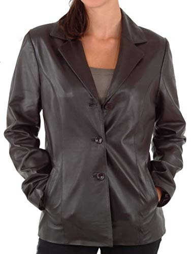 (RedSeam Women's Genuine Lambskin Leather Blazer Slim Fit Jacket Three Button Coat RW110 (Large) Black)