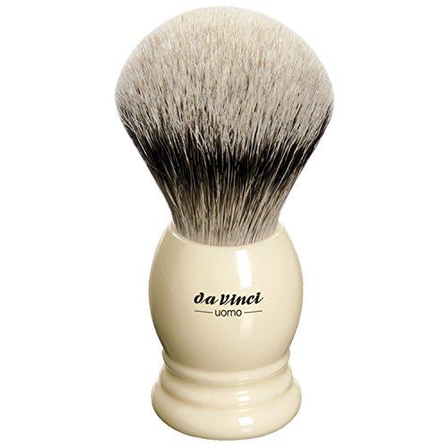 da Vinci Shaving Series 298 UOMO Silvertip Shaving Brush, Badger Hair with Ivory Ringed Handle, 20mm, 45 Gram