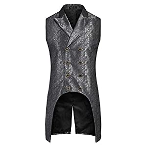 COOFANDY Men's Gothic Steampunk Vest Double Breasted Jacquard Brocade Waistcoat