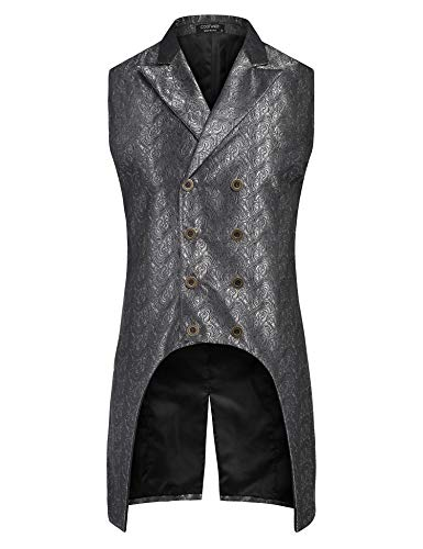 COOFANDY Men's Gothic Steampunk Vest Sleeveless Tailcoat Jacket Double Breasted Jacquard Brocade Waistcoat Black