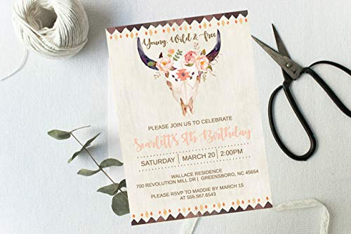 Boho Birthday Invitation, Flower Young Wild and Free Skull Arrow Girls Party Rustic, Printed or printable