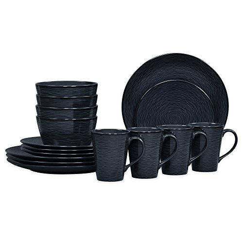 Noritake Coupe (Noritake Black on Black Swirl Coupe 16-Piece Porcelain Dinnerware Set)