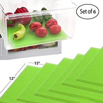 Dualplex Fruit & Veggie Life Extender Liner for Fridge Refrigerator Drawers, 12 x 15 Inches (6 Pack) - Extends The Life of Your Produce & Prevents Spoilage